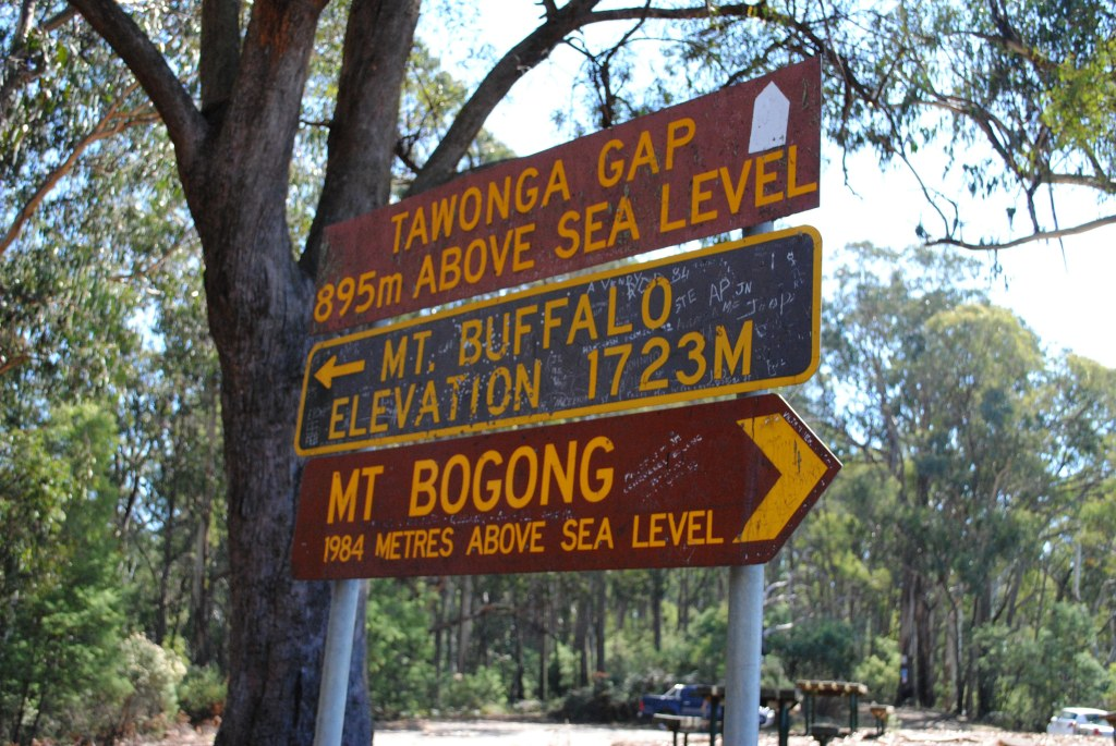Road signs at Tawonga Gap between Mt. Beauty and Bright in the Victorian High Country