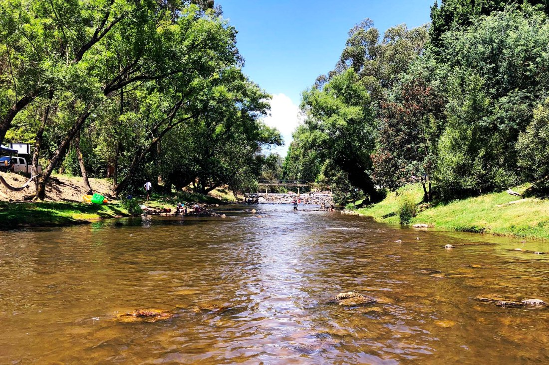 Ovens River in Bright, Victoria - becoming less busy